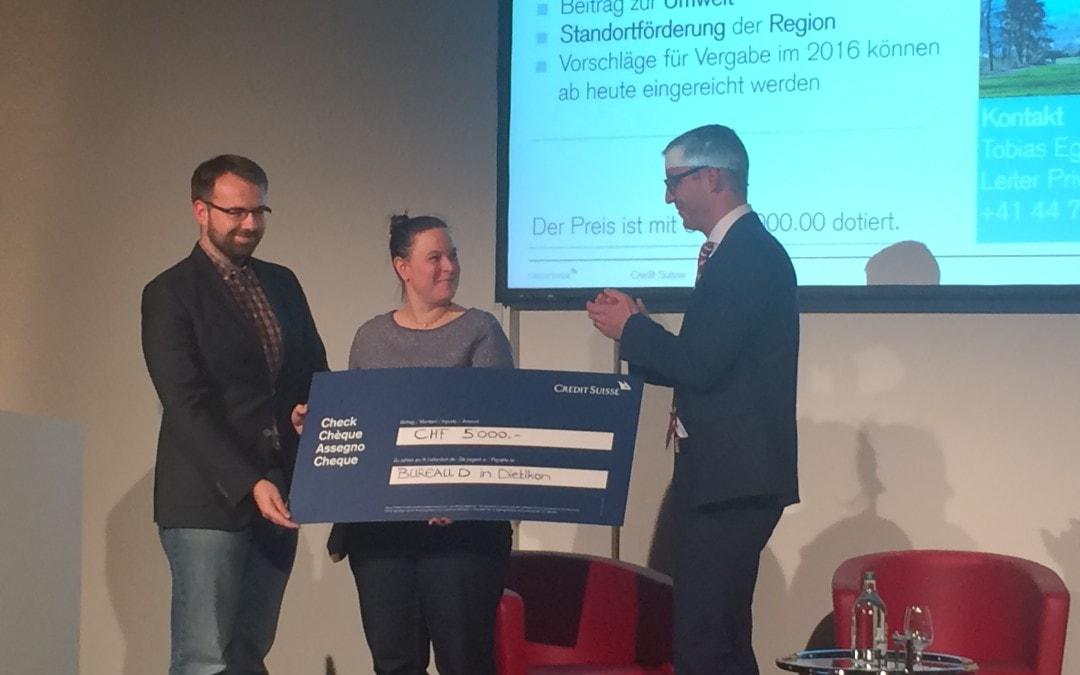 BUREAU.D gewinnt CHF 5000.- Lokalpreis der Credit Suisse in Dietikon
